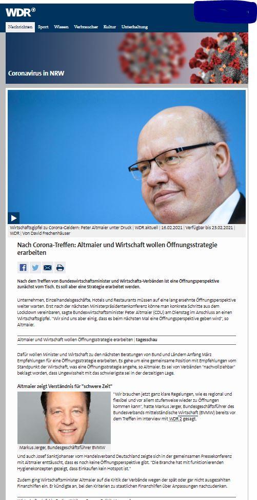 Jerger zu Minister Altmaier : KLAREREGELN