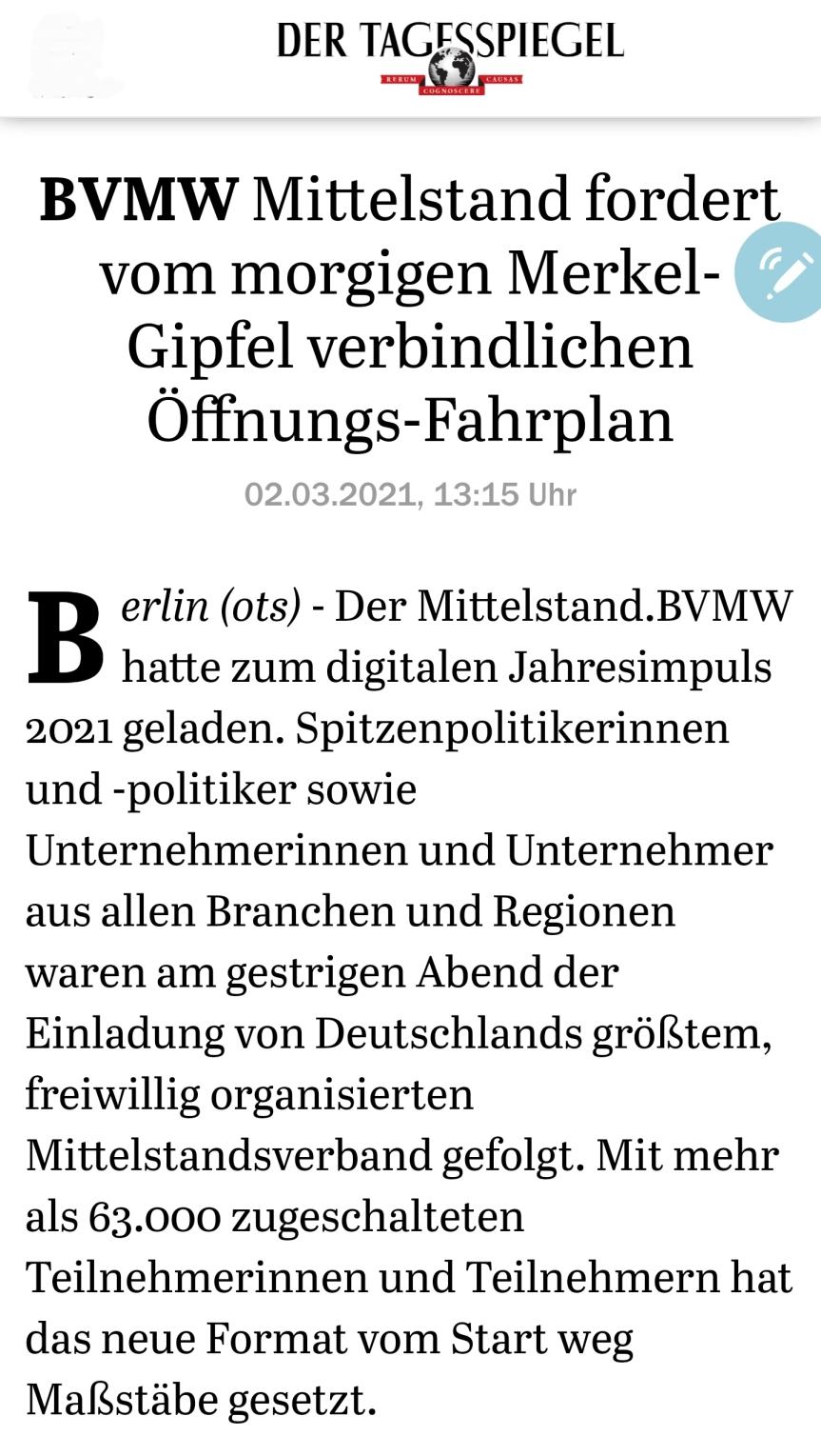 BVMW Mittelstand fordert vom morgigen Merkel-Gipfel verbindlichen Öffnungs-Fahrplan