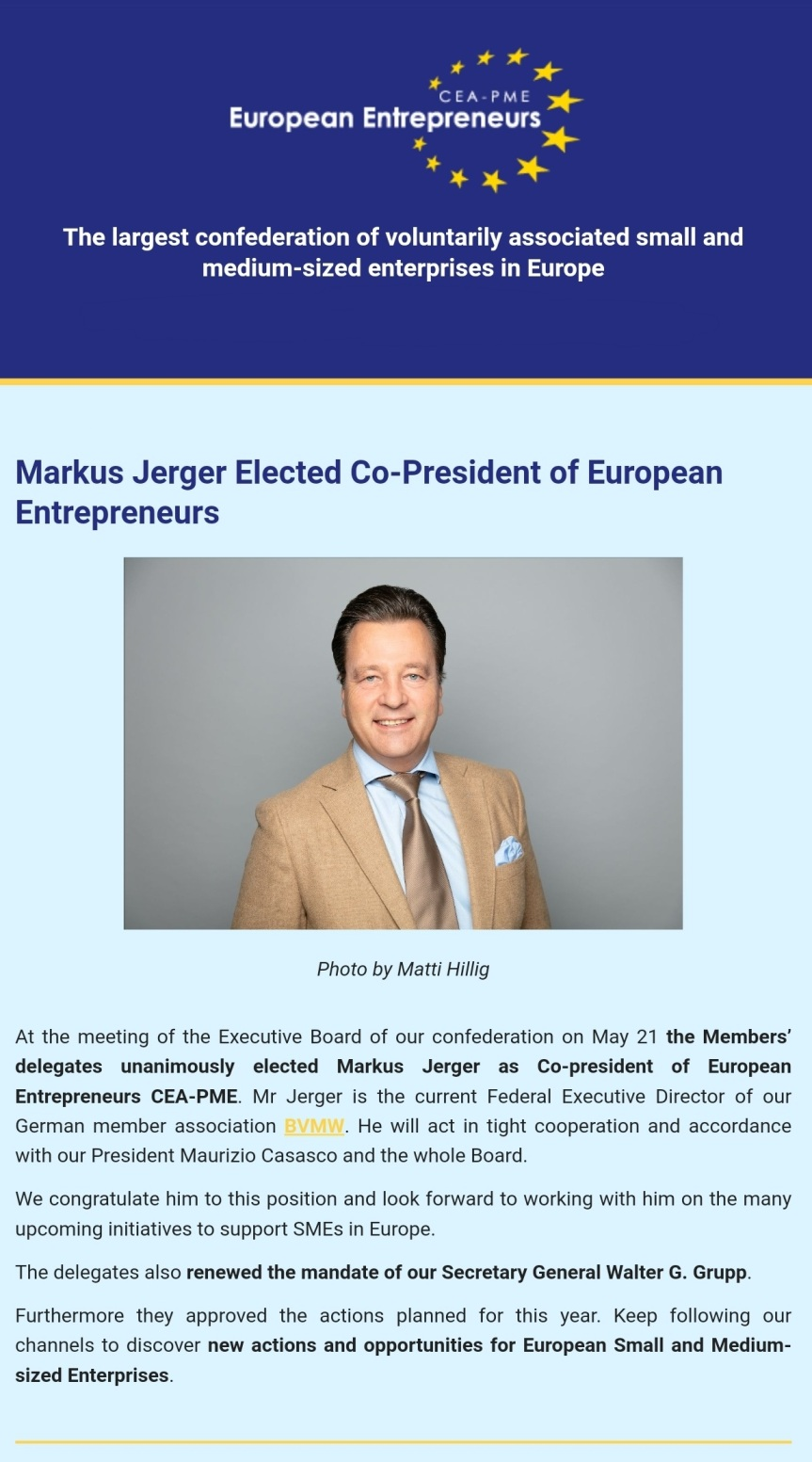 Markus Jerger elected Co-President of European EntrepreneursAssociation