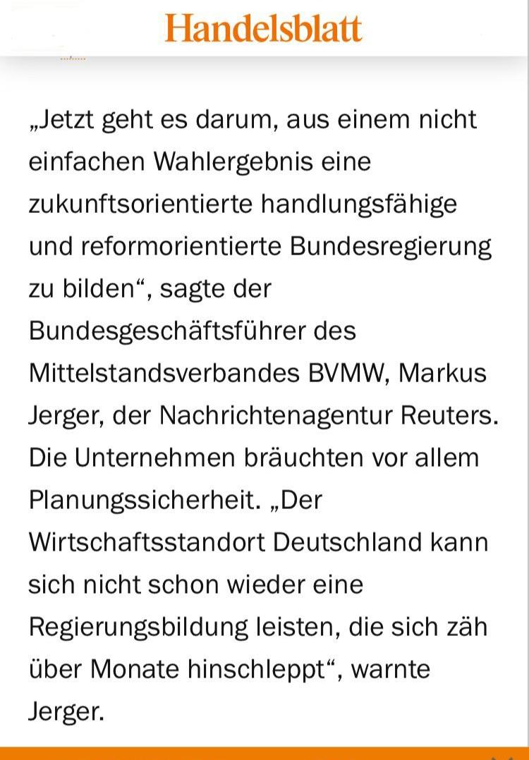 Handelsblatt : Wahl &Auftrag