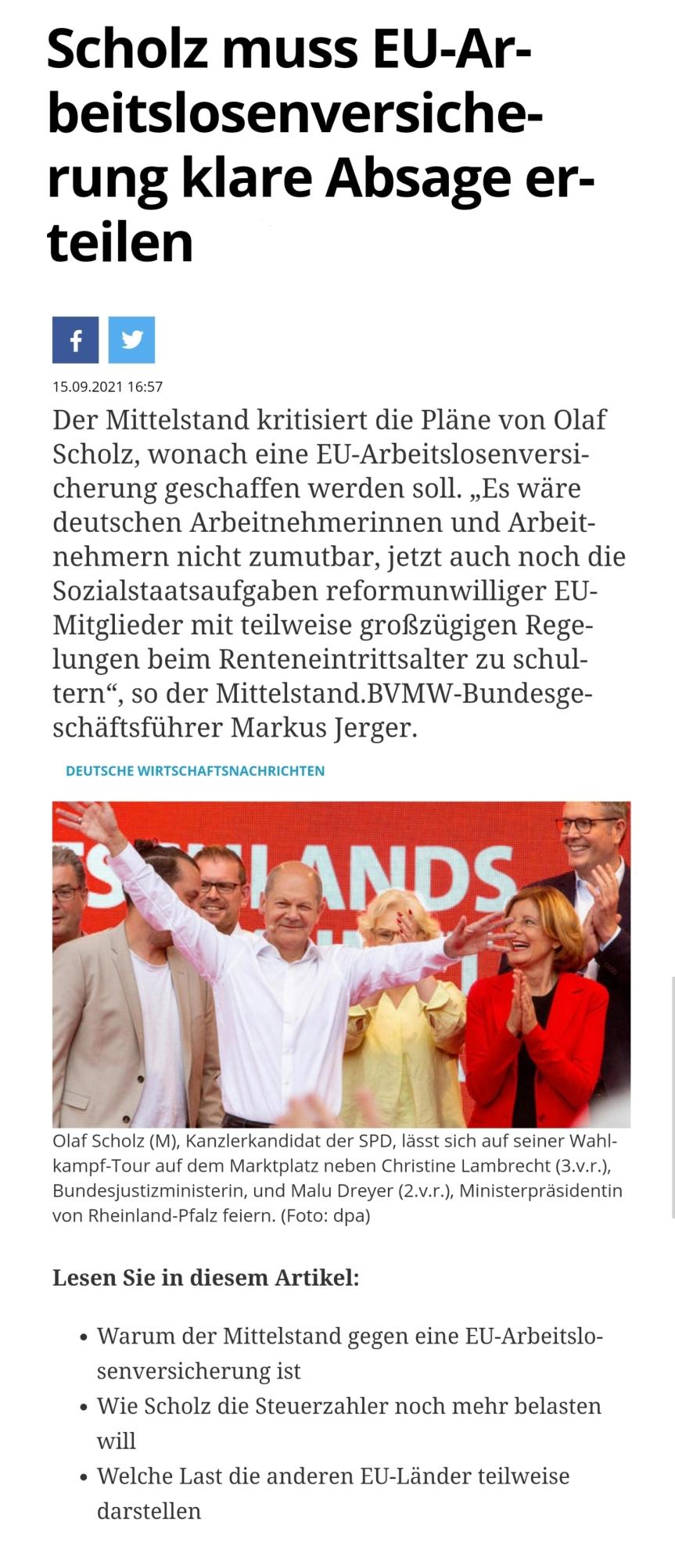 Deutsche Wirtschafts Nachrichten : Scholz muss EU-Arbeitslosenversicherung klare Absageerteilen